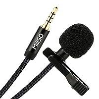 MillSO Lavalier ラペルマイククリップ 全方向マイク付き 録音 インタビュー ポッドキャスト YouTube、ASMR ビデオ会議、音声ディクテーション スマートフォン、ノートパソコン、タブレット、カメラ - 120cm/4フィート