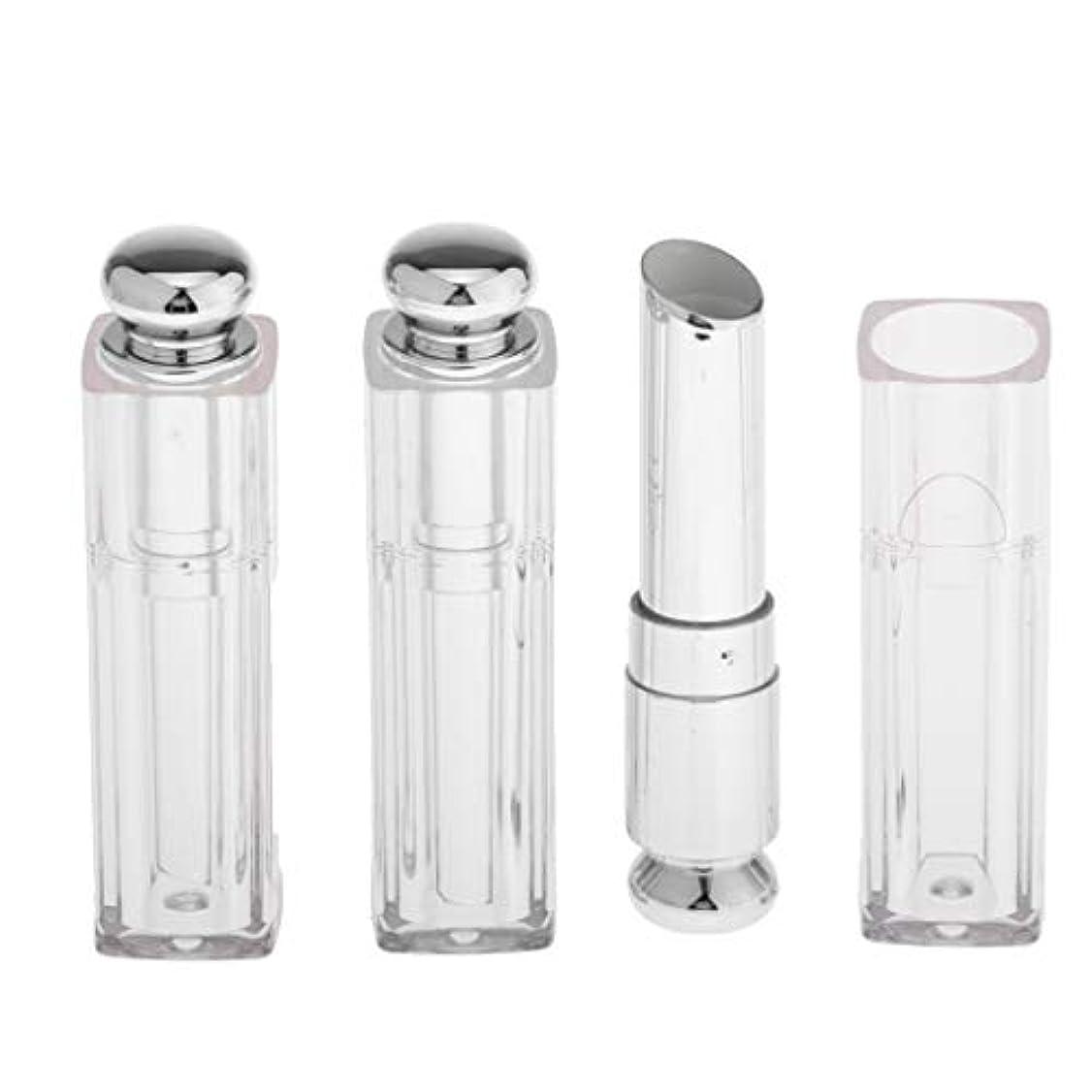 提供特徴づける望まない口紅容器 リップクリーム チューブ リップバームチューブ 11.1mm 手作り コスメ 用品 3個 全3色 - 銀