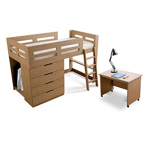LOWYA (ロウヤ) ベッド システムベッド ハンガーラック 引出し4杯 本棚 デスク キャスター付 すのこ シングルベッド ロフトベッド ナチュラル 新生活
