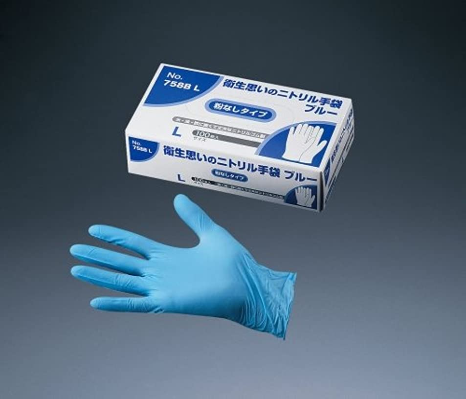 ごちそうインフレーション農学オカモト 手袋 衛生思いのニトリル(粉なし) NO.758 M ニトリルゴム ブルー STBF002