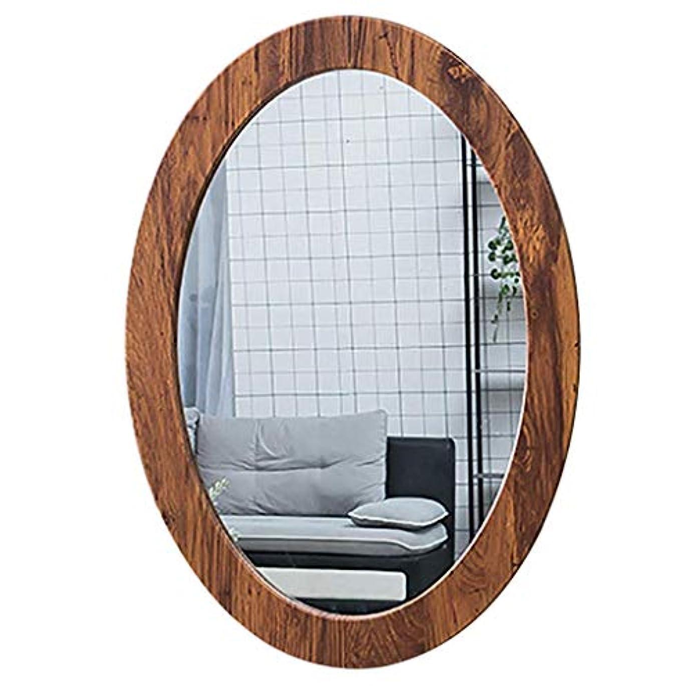 ズームインする細いマナーSelm 浴室ミラー壁掛け、洗面化粧台オーバルpvcフレーム化粧鏡用浴室洗面所廊下 (Color : Wood Grain, Size : 40CMx60CM)