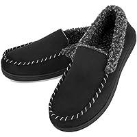 Vonmay Men's Memory Foam Moccasin Fleece Slippers Suede Loafer House Shoes Anti Slip Indoor Outdoor