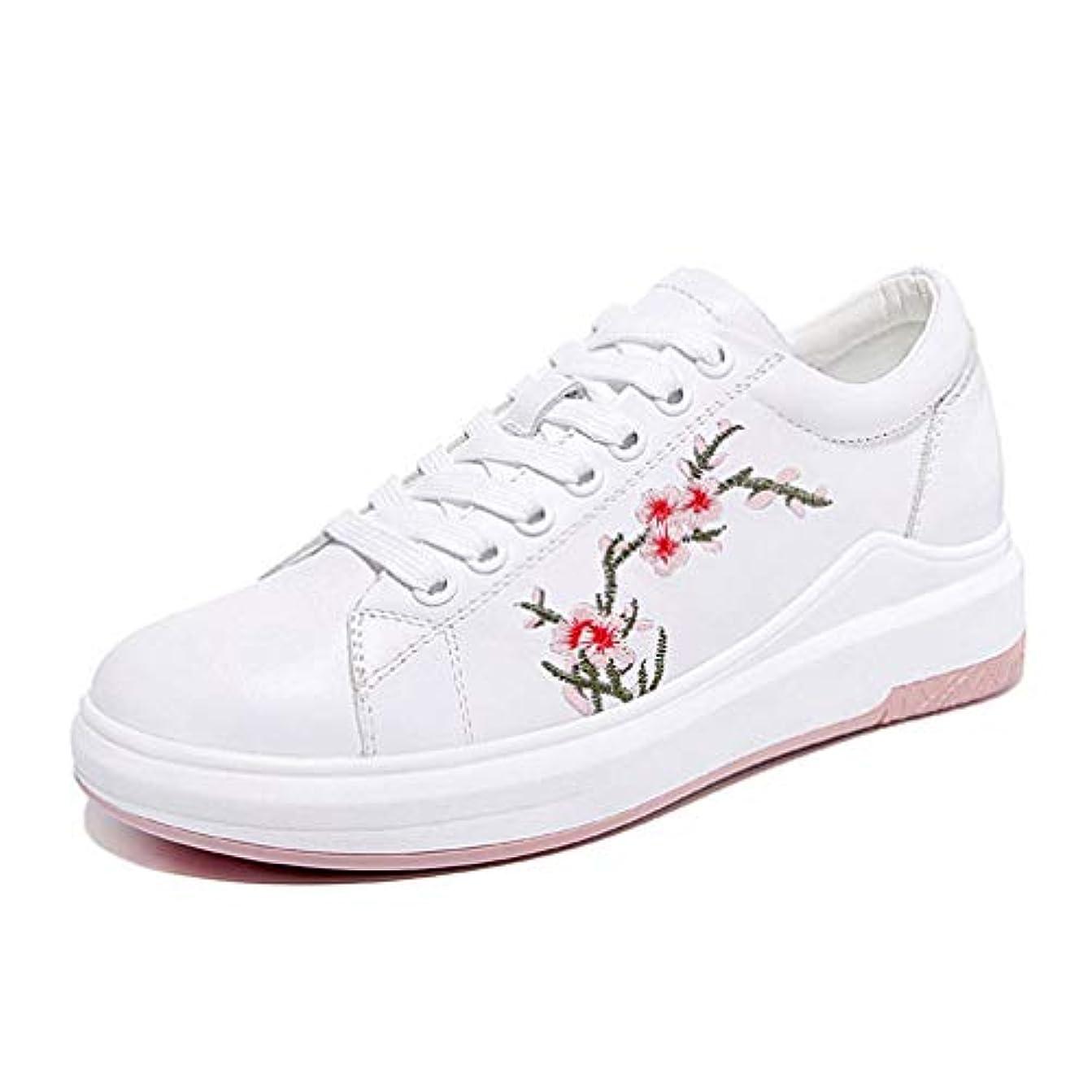 徐々に中間推進2018年女性用靴レザースニーカーデッキシューズ通気性フラットボトムストラップ刺繍カジュアルシューズブラックホワイト,White,36