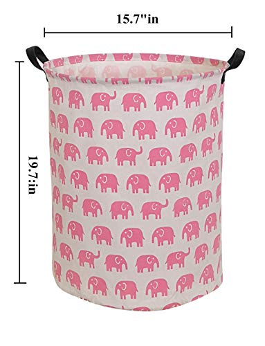 HIYAGON Large Sized Storage Baskets with Handle,Collapsible & Convenient Home Organizer Containers for Kids Toys,Baby Clothing(Pink Elephant)