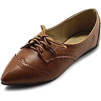 Ollio Women's Ballet Shoe Flat Enamel Pointed Toe Oxford