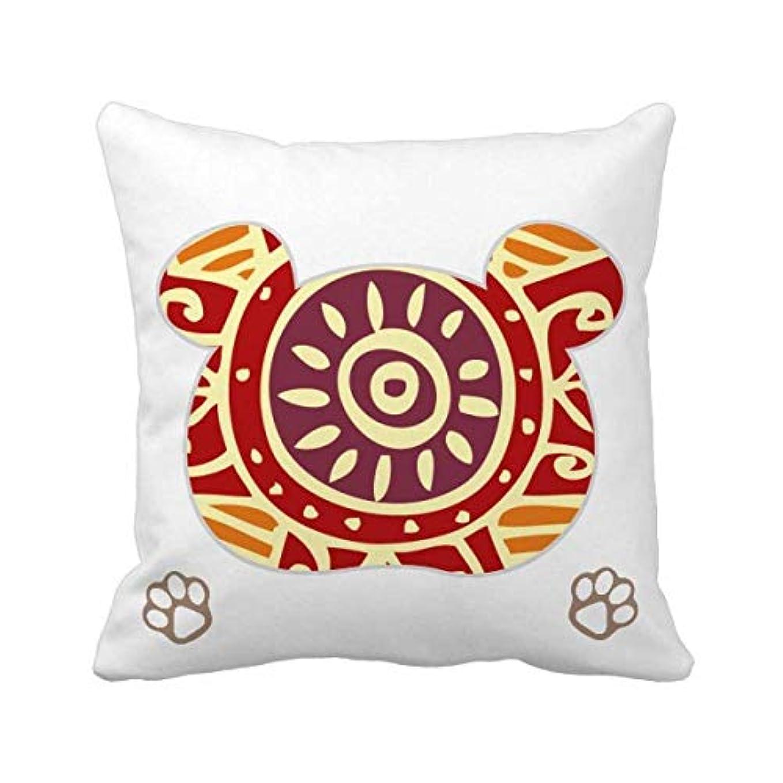 繰り返した重要フライト暗赤色の目メキシコトーテムの古代文明の描画 枕カバーを放り投げてスクエアベア 50cm x 50cm
