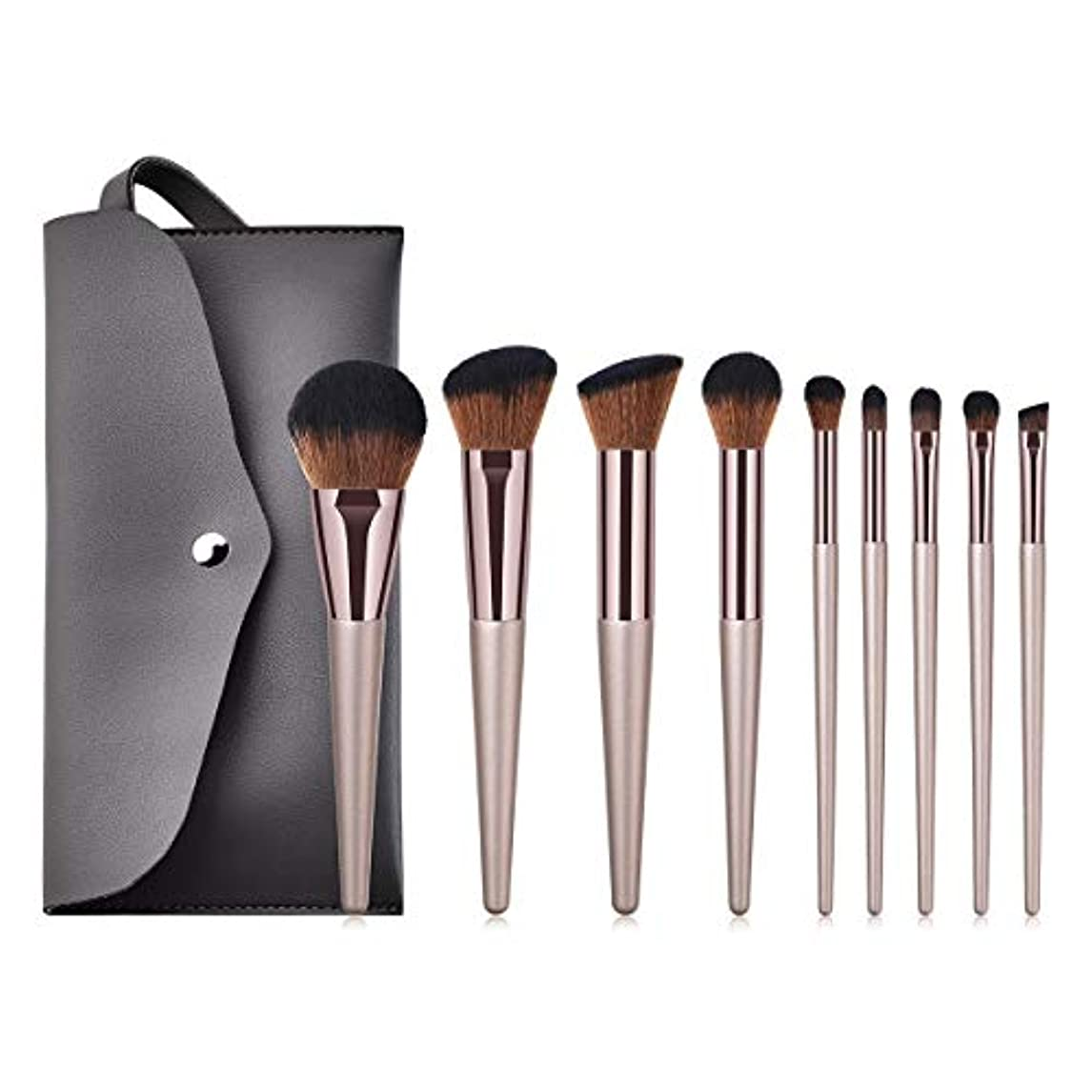 手入れリングバック赤面Makeup brushes PUレザーバッグで設定された豪華な9本の化粧ブラシ suits (Color : Gold)