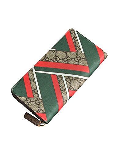 (グッチ) Gucci イタリアンカラーのシェブロンプリント 個性派デザインで魅了する長財布 グッチスプリーム素材 ベージュ/エボニー [並行輸入品]