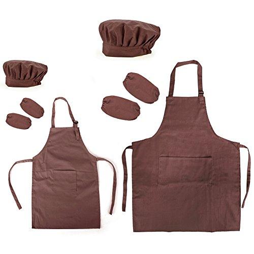 Opromo 多色 子供用 コットンキャンバス エプロン+帽子+オーバースリーブ ポケット付き(1セットの価格) - コーヒー 親子ペア - XXL