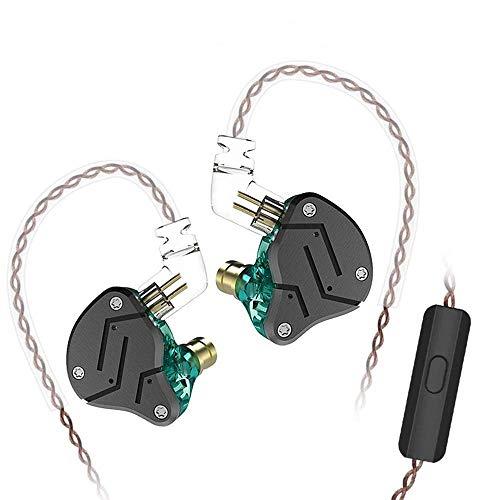 KZ ZSN 重低音 イヤホン 1BA+1DDを搭載 ハイブリッドイヤホン カナル型 高遮音性 イヤホン 高音質 中華イヤホン 2pin リケーブル 可能 ジュラルミンフェイスプレート搭載 3.5mm プラグ (黒‐緑・マイク付き)