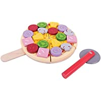 Bigjigs Toys Wooden Cutting Pizza with Wooden Toppings and Pizza Cutter - Play Food and Role Play for Kids [並行輸入品]