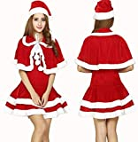 (BDGAFA)クリスマス フード コスプレ コスチューム 衣装 クリスマスサンタ サンタクロース コスプレ サンタ コスチューム レディース 3点セット (S〜L)/ XXL/XXXL 大きいサイズのケープコスチューム 衣装 セクシーサンタコスプレ3L 4L(L)