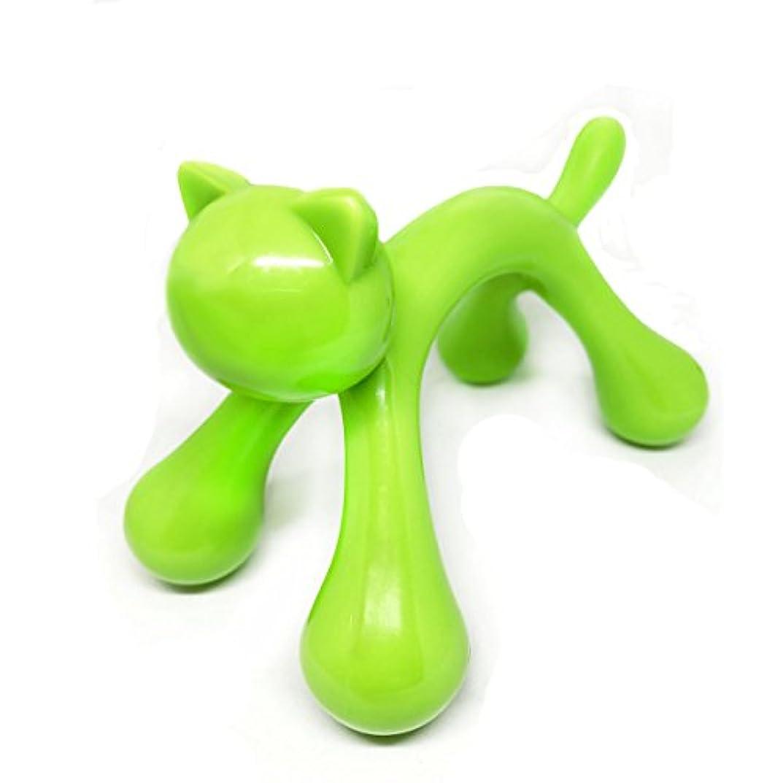 細胞第四邪魔するマッサージ棒 ツボ押しマッサージ台 握りタイプ 背中 ウッド 疲労回復 ハンド 背中 首 肩こり解消 可愛いネコ型 (グリーン)