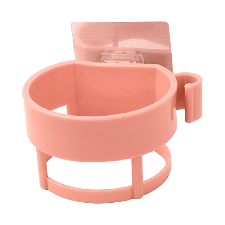 uxcell ヘアドライヤー ドライヤーホルダー 自己粘着性 プラスチック ブロワー ラック オーガナイザー バスルーム ピンク