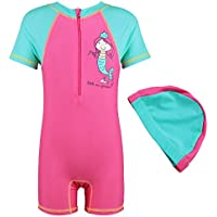 TFJH Kid Boys Girls Swimsuit UPF 50+ UV Sun Protective One Piece with Cap