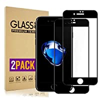 【2枚セット】iPhone 8 Plusガラスフイルム 3Dタッチ対応、 iPhone 7 Plus液晶保護【日本製素材旭硝子製】最大硬度9H/高透過率/自動吸着/6DカーブLCD保護フィルムアンチコリジョン指紋保護/全面フルカバー 5.5インチ(黒)