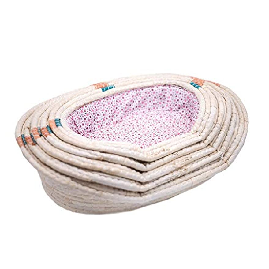 フェリーつづり秘密のペットの巣、猫のベッド、犬小屋、小型犬の犬小屋、籐の犬小屋、子犬ペットの巣、籐の夏の犬小屋、通気性のペットの巣、ペットの巣用品 (Color : BEIGE, Size : S)