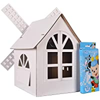 3dアセンブリパズルダンボールHouse for children painting withクレヨン
