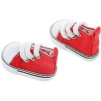 【ノーブランド品】 1/6 BJD 人形 アクセサリー 靴 レースアップ ハイトップ キャンバス シューズ ペア 装飾 贈り物 全9色 - 赤