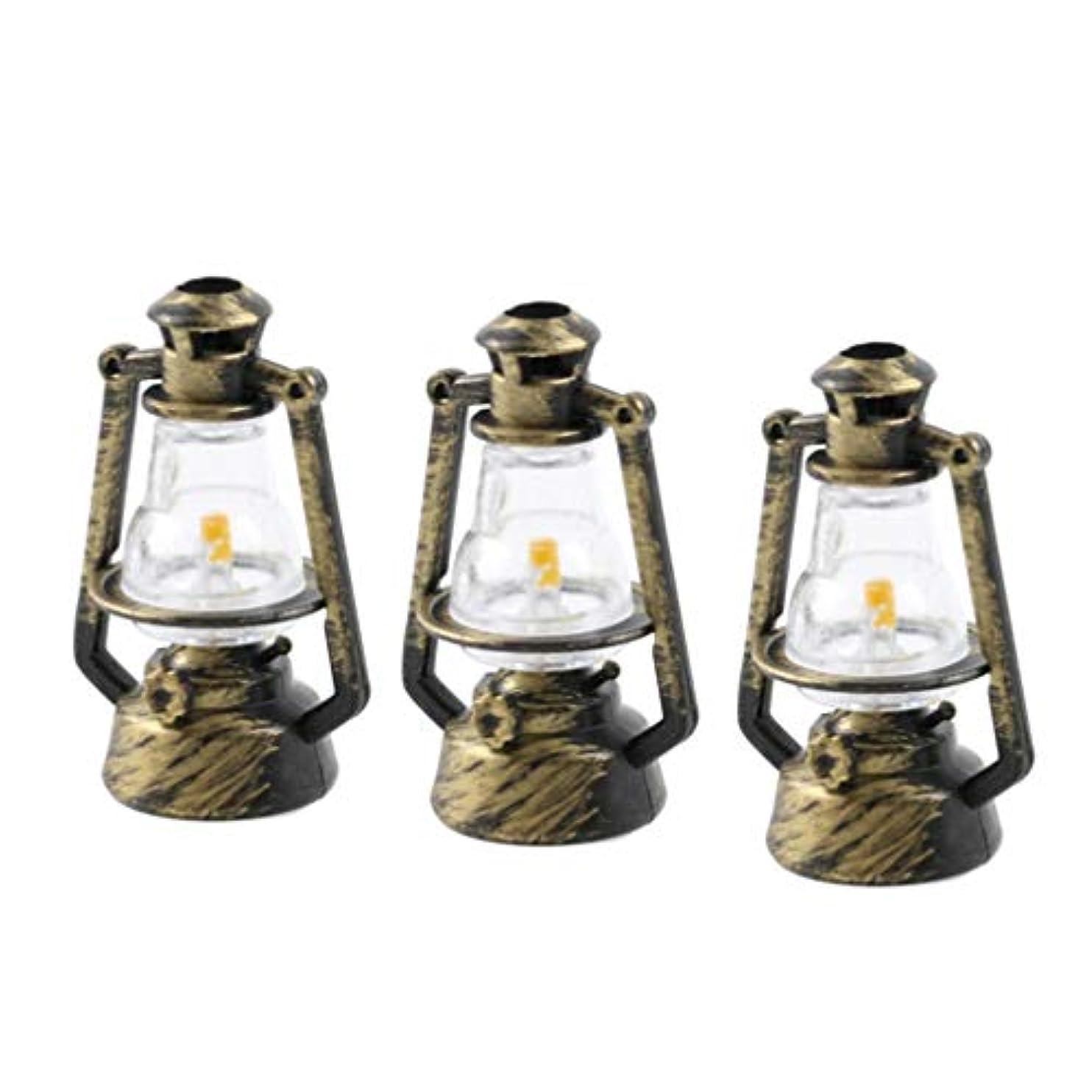 踏み台評論家移行HEALLILY ミニレトロ灯油ランプ飾り1:12ドールハウスミニチュア家具ドールハウス装飾アクセサリー風景装飾6ピース