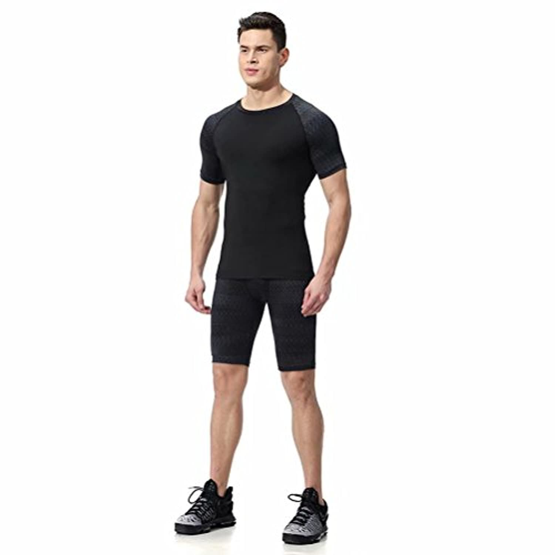 kayiyasuジャージ上下セット メンズ Tシャツ トレーニングウエア 半袖 ジム 練習着 吸汗速乾 043-sgt-l06(M ダークグレー)