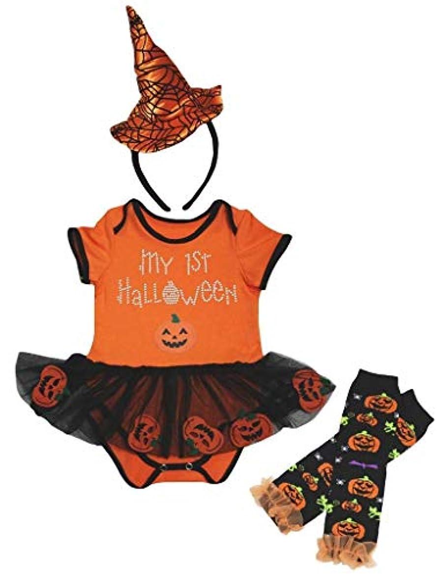 繁殖横に道に迷いました[キッズコーナー] ハロウィン My 1st Halloween オレンジ カボチャ 子供ボディスーツ、子供のチュチュ、ベビー服、女の子のワンピースドレス レッグウォーマー セット Nb-18m (オレンジ, X-Large) [並行輸入品]