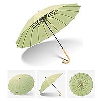 DCCRBR 傘ストレート傘ロングハンドル傘16骨木製ハンドル防風スチールスケルトンクイックドライブラウン 防水傘