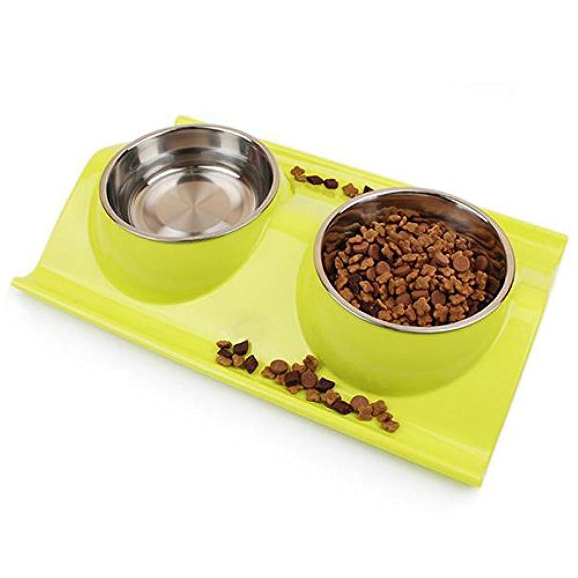 Meipets 犬&猫用フードボウル 食事皿 ダブル茶碗 ペッ用品 ペット食器 ペットのステンレス碗 お皿 (グリーン)