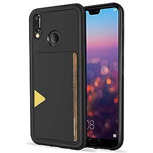 Hokonui Huawei p20 lite ケース 耐衝撃 ICカード収納 TPU+革製 ファーウェイ P20 lite カバー 滑り防止 カメラレンズ保護 HWV32 ケース 全面保護 スマホケース (Huawei p20 lite, 黒)