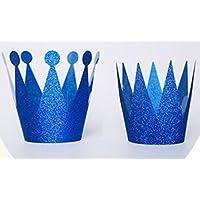 HuaQingPiJu-JP 誕生日パーティーデコレーションの王子とプリンセスクラウンパコックブルー