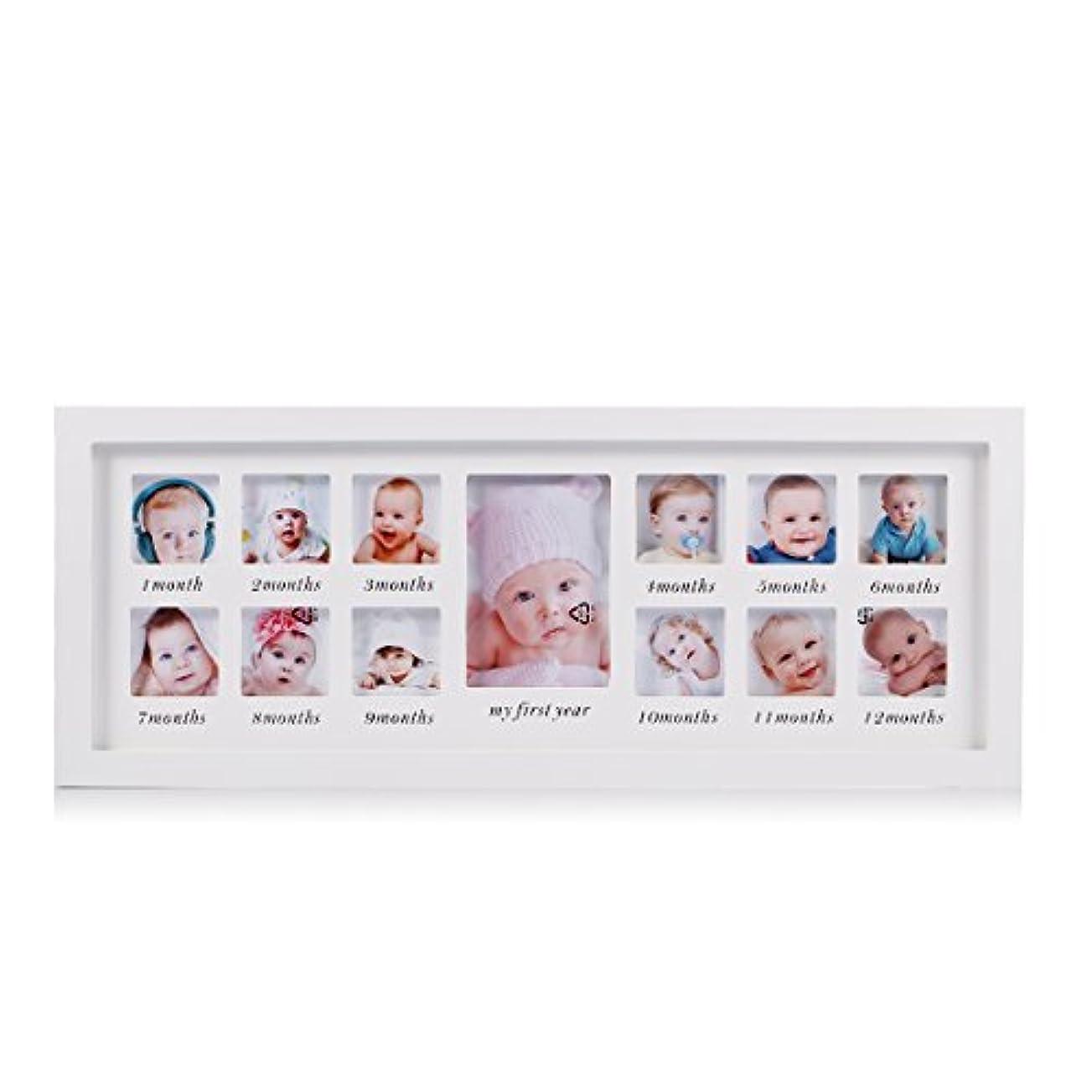 悪夢グレートオークもう一度Feibi私の1年目の赤ちゃんの写真フレーム生まれたばかりの赤ちゃんの記念品のフレームキット木製の子供壁掛け額縁13ヶ月フォトフレーム(白) - ユニークな赤ちゃんのギフト部屋の壁のための完璧な装飾