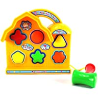 Baby Basics Happy TimeキャビンColorful Shape Sorter Toy w / 6図形、トイハンマー