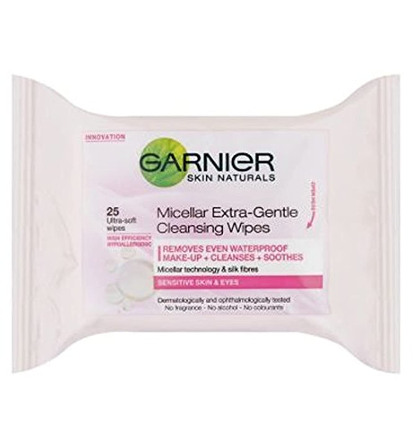 自伝チラチラするサイレントガルニエミセルエクストラジェントルクレンジングは、25秒をワイプ (Garnier) (x2) - Garnier Micellar Extra-Gentle Cleansing Wipes 25s (Pack of 2...