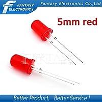 100pcs赤の発光ダイオードの赤は赤5mmを導きました