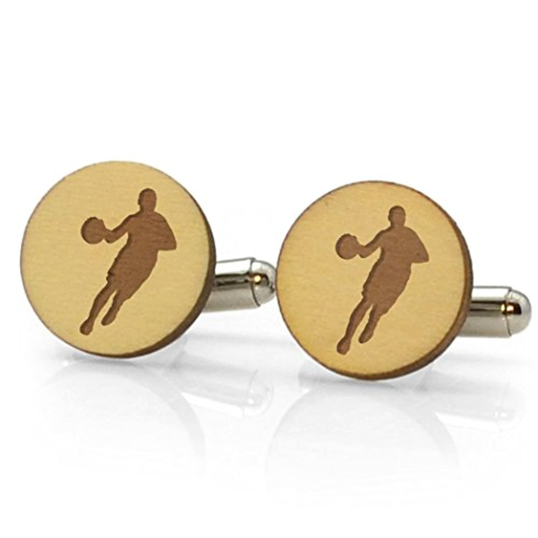 バスケットボールシルエット刻印木製 カフスボタンBasketball Cufflinks by Chalktalkスポーツ