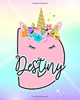 Destiny: Girls Unicorn Journal to Write In | Personalized Journal