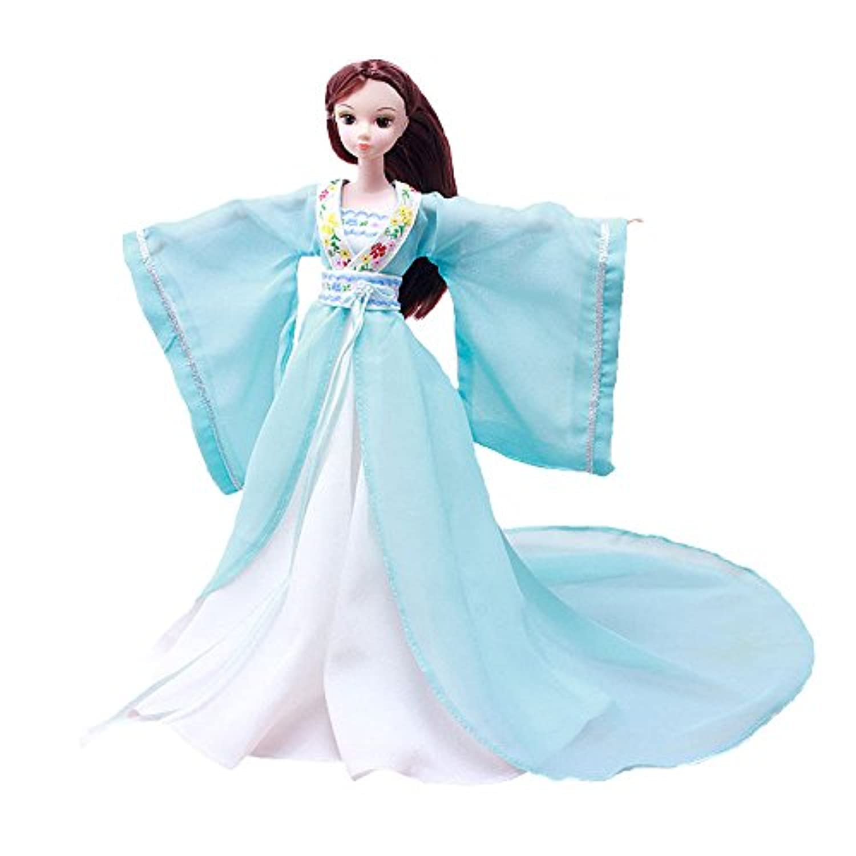 EtechMart バービー コレクター 人形用 中国古代皇女仙女 古代服装 漢朝唐装漢服広い袖 スカイ?ブルー