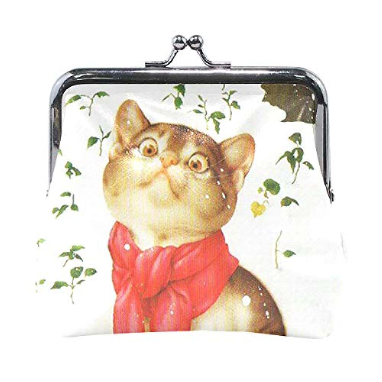 がま口 小銭入れ 財布 猫の師走 コインケース レザー製 丸形 軽量 人気 おしゃれ プレゼント ギフト 雑貨