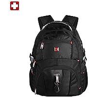 "SWISSWIN Swiss Backpack/Travel Backpack/School Backpack/Daily Backpack SW8112 Black 16"" Laptop"