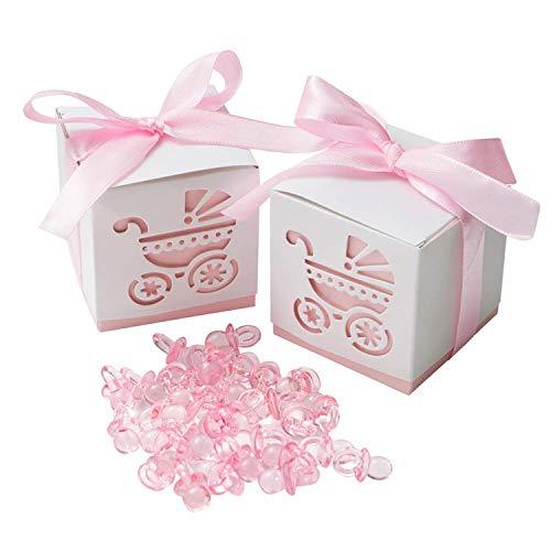 ギフトボックス 50個セット 紙製 ベビーシャワーパーティー キャンディーボックス リボン付 プチギフト お菓子箱 誕生日パーティー 好意 小物入り 乳母車図案 (ピンク)