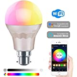 HaoDeng WiFi LED Light, Smart Bulb -Timer& Sunrise& Sunset- Dimmable, Multicolor, Warm White (Color Changing Disco Ball Lamp) - 60w Equivalent B22, Compatible with Alexa, Google Home Assistant and IFTTT