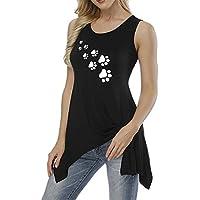 Jojckmen Women Girls Irregular Hem Summer T-Shirt Heart/Cat Claw Print Sleeveless Tee