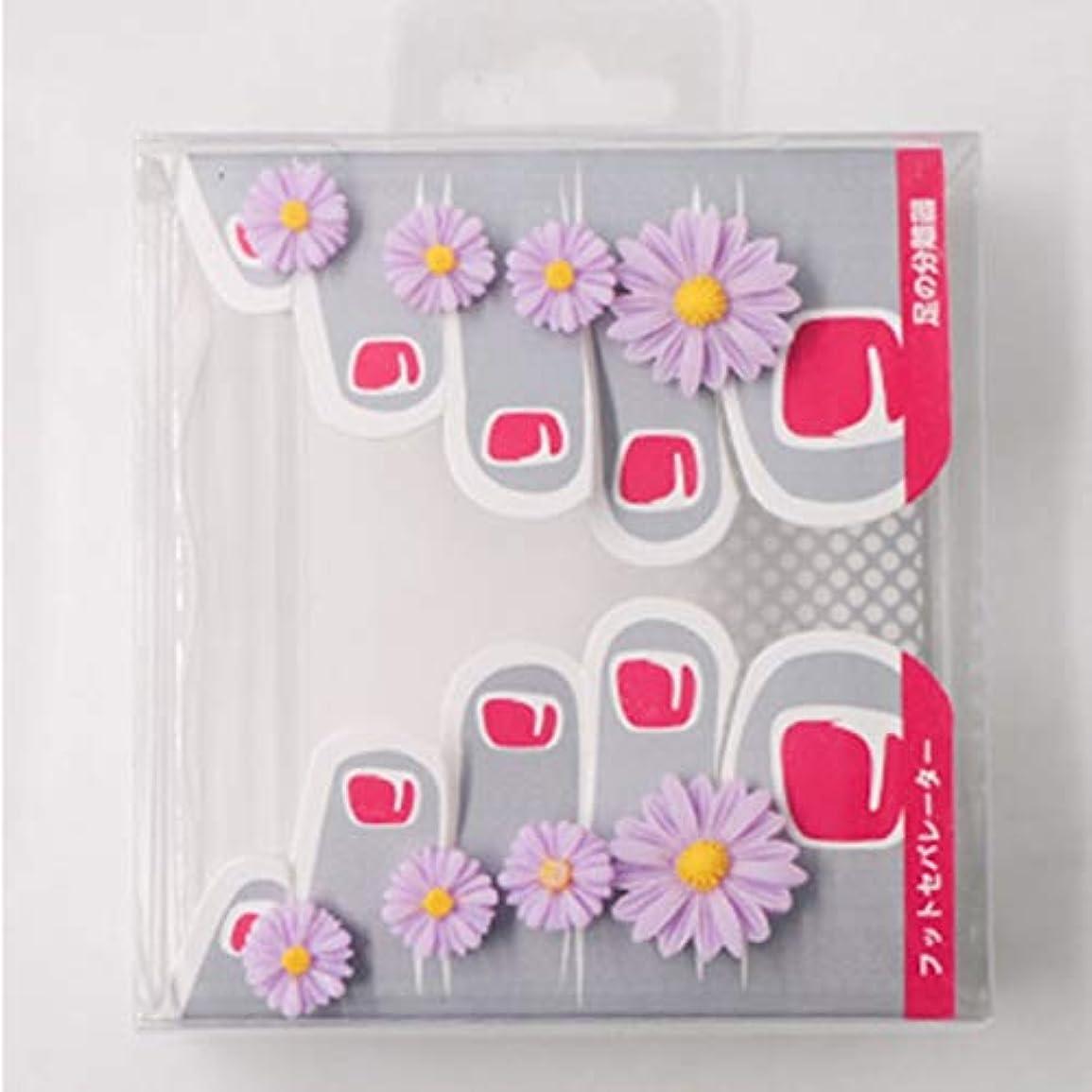 グリット種類口頭OU-Kunmlef 特徴的な8つのPC /セットシリコーンつま先分離器ホームとサロントウ(None Toe splitter L Little Daisy Purple-03)