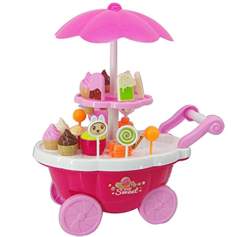 新しい子供おもちゃシミュレーションMiniキャンディアイスクリームトロリーShop Pretend Playセット39pc