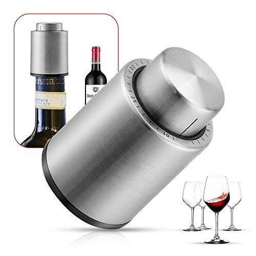 ワインストッパー・バキュームポンプ ワイン 栓 真空包装ポンプ鮮度を保持 日付スケール ステンレス鋼製ワイン 栓