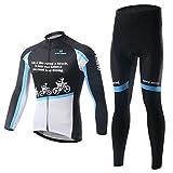 HUSK'SWARE メンズサイクルジャージ長袖上下セット メンズ長袖サイクリングジャージ秋冬用  吸汗速乾サイクルジャージ 自転車ジャージ長袖上下