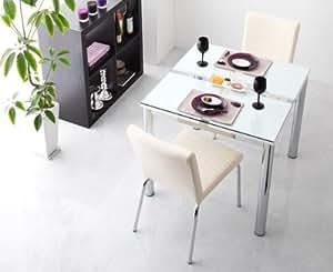 ガラスデザインダイニング【De modera】ディ・モデラ/3点セット(テーブルW80+チェア2脚) (オフホワイト)