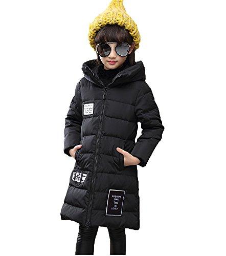 0427197d40e95 ダウンジャケット 子供 ジャケット 女の子 ダウンコート キッズアウター 防寒服 ガールズ 綿服 かわいい アウドドア 登山 通学 冬 厚手 フード付き  ロング丈 (150cm