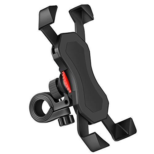 BENDA 自転車 スマホ ホルダー 振れ止め 脱落防止 オートバイ バイク スマートフォン GPSナビ 携帯 固定用 マウント スタンド 防水 に適用iphone7 8 X xperia HUAWEI android 多機種対応 角度調整 360度回転 脱着簡単 強力な保護 (ブラック)