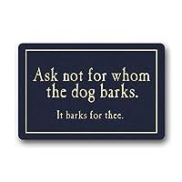 おかしい引用玄関マット、誰が犬のWhoえ声を求めないか、滑り止め付きの装飾フェルトフロアマット、家庭用屋内に適合、超吸収性ラグ() 60x40cm